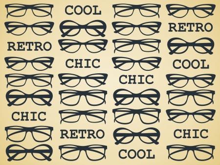 fashion bril: Illustratie van glazen in vintage stijl