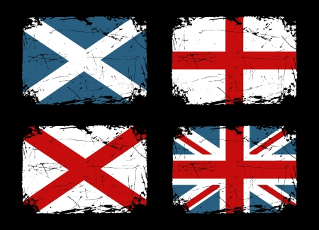 Grunge flags of Scotland, England and Ireland and the Union Flag of the United Kingdom  Stock Vector - 14518782
