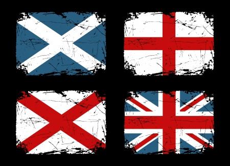 grunge union jack: Grunge flags of Scotland, England and Ireland and the Union Flag of the United Kingdom