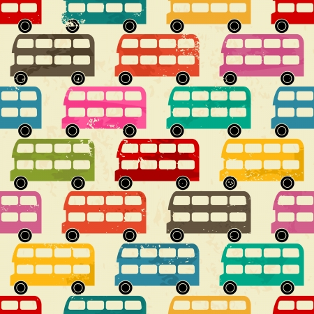 Seamless pattern with colorful London buses  Vector