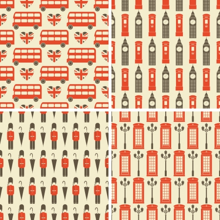 british culture: A set of four seamless patterns with London symbols