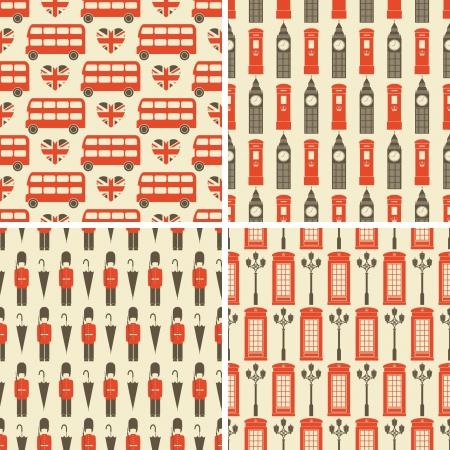 Ein Satz von vier nahtlose Muster mit London Symbole Vektorgrafik