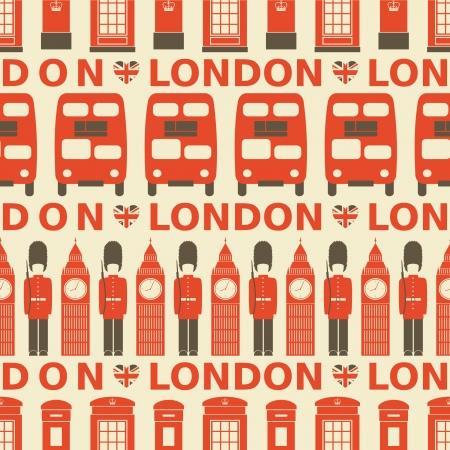 londres autobus: Patr�n sin fisuras con los s�mbolos de Londres Vectores