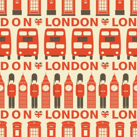 british army: Seamless pattern with London symbols  Illustration