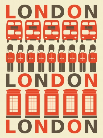 Illustration of London symbols in red and brown  Vector