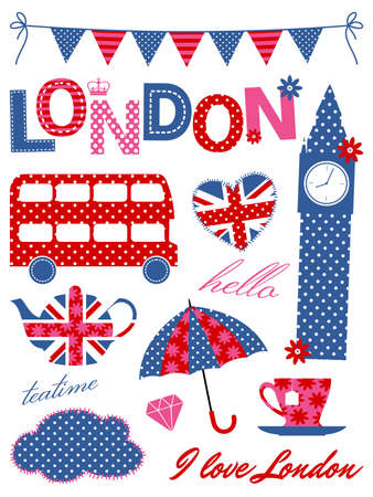 bunting flags: London scrapbooking elements in blue, red and pink
