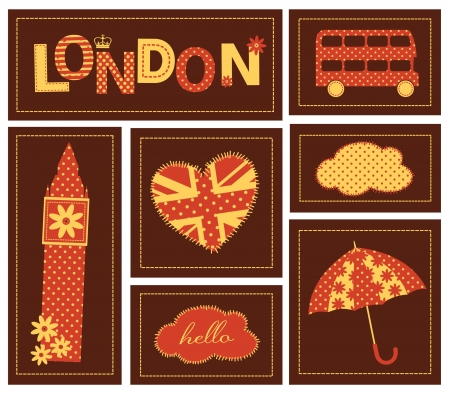 London scrapbook elements in red, yellow and brown