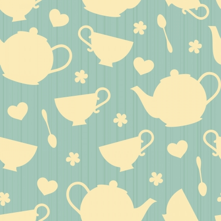 Seamless pattern with tea pots and tea cups  Illustration
