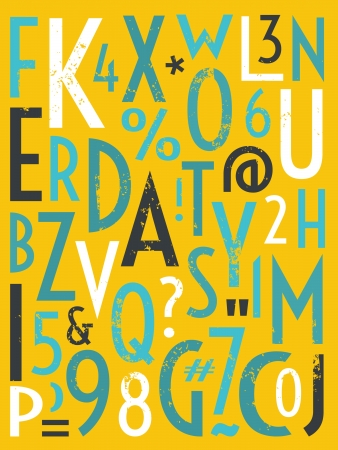 paper spell: A set of vintage style letters and numbers  Illustration