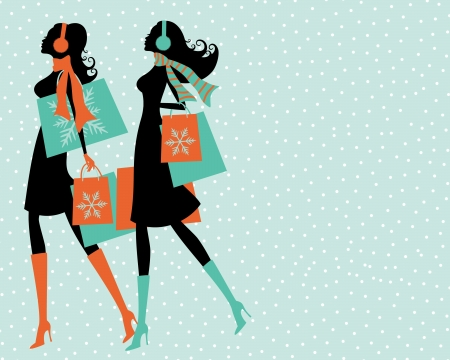 woman scarf: Illustration of two young women shopping on a snowy winter say