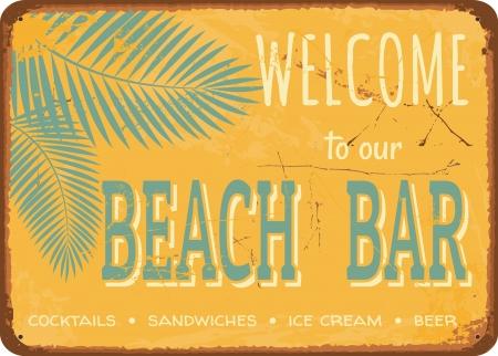Bar en la playa letrero de metal de la vendimia. Ilustración de vector