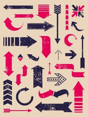 flechas curvas: Un conjunto de flechas de estilo vintage Vectores