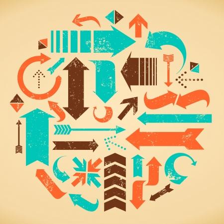 flecha direccion: Un conjunto de flechas de estilo vintage en naranja, azul y marr�n