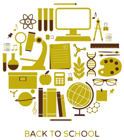 computer science: A set of school and education icons  Illustration