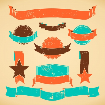 grunge banner: A set of vintage style badges and banners in orange, brown and blue