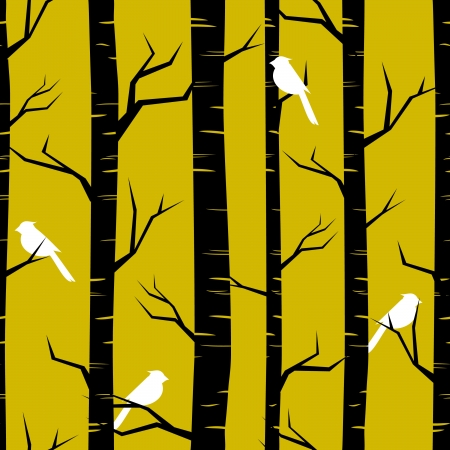 birch forest: Modelo abstracto sin fisuras con abedules y aves Vectores
