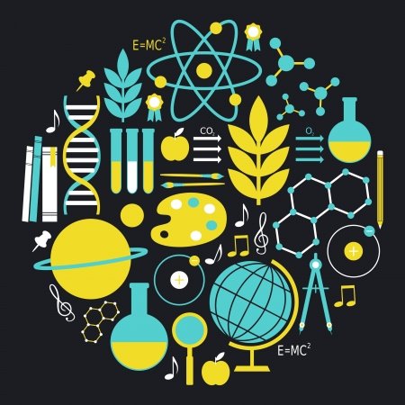science chemistry: A set of school and education icons in blue and yellow