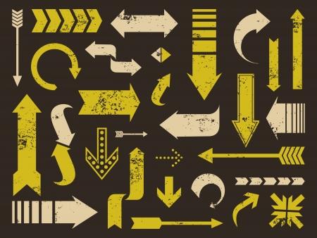 flechas curvas: Un juego de la vieja textura rayada Grunge flechas f�cil de quitar
