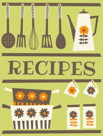 kuchnia: Karta konstrukcji przepisu w stylu retro Ilustracja