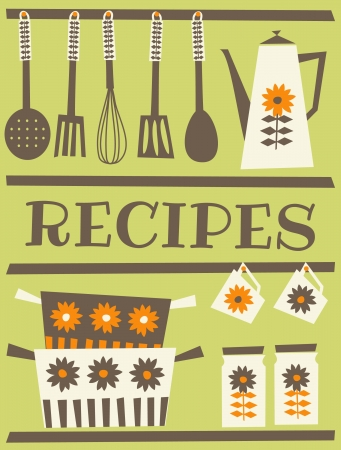 dinnerware: Recipe card design in retro style