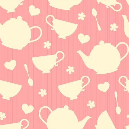 taza de t�: Patr�n sin fisuras con teteras y tazas de t�