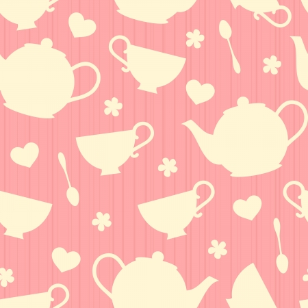 teacup: Seamless pattern with tea pots and tea cups  Illustration