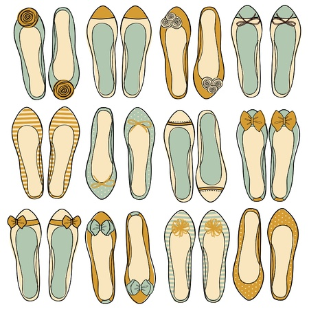 ballerina shoes: A set of nine different models of ballerina shoes