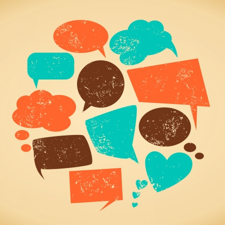 speech icon: A set of vintage speech bubbles  Grunge texture easy to remove
