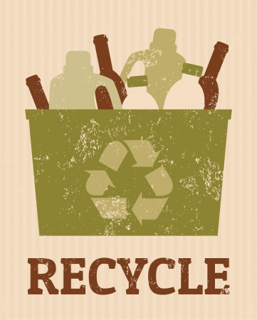 recycle reduce reuse: Cartel fresco de reciclaje con un cubo lleno de botellas