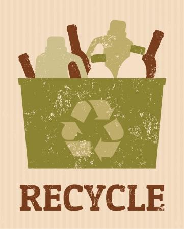 reciclar basura: Cartel fresco de reciclaje con un cubo lleno de botellas