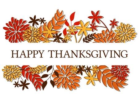 Gracias estacional diseño con las hojas de otoño y flores aisladas en blanco Ilustración de vector
