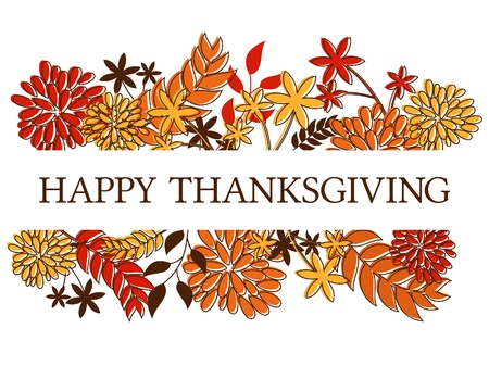 Thanksgiving seasonal design with autumn leaves and flowers isolated on white  Vector
