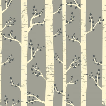 on the tree: Seamless pattern with birch trees