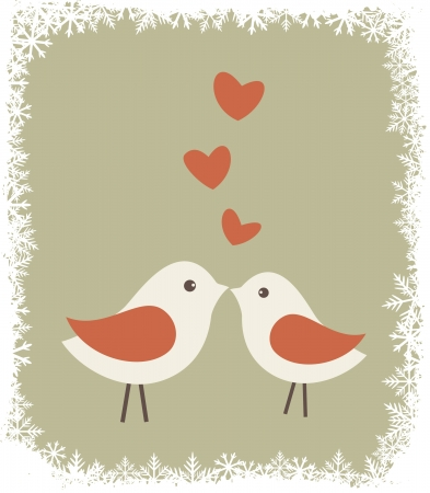Illustration of two cute birds in love   Vector