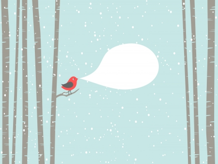 birch forest: Illustration of a cute bird with blank speech bubble  Illustration