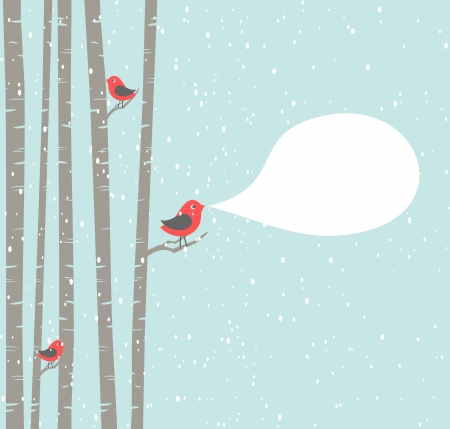 winter scene: Illustration of a cute birds with blank speech bubble
