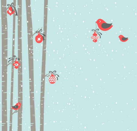 birch forest:  Illustration of cute birds decorating trees for Christmas   Illustration