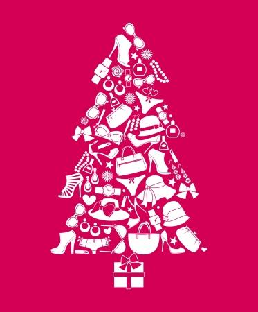 kerstmuts: Illustratie van een kerstboom gemaakt van verschillende vrouwelijke mode-items Stock Illustratie