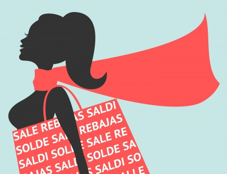 lady in red: Illustration of a young woman with shopping bag with the word  Sales  in different languages