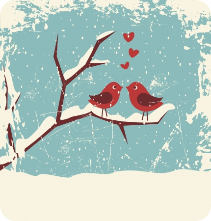 grunge heart: Illustration of two cute birds in love at winter time