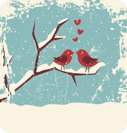 liebe: Illustration von zwei niedlichen V�gel in Liebe auf den Winter Illustration