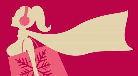 woman in scarf: Illustration of a young woman shopping for Christmas