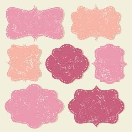 vintage label: A set of cute vintage labels in pastel colors  Illustration