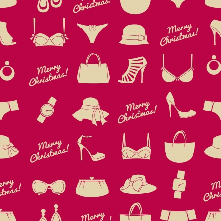 Seamless pattern with female fashion Christmas presents  Vector