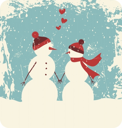 Illustration of two cute snowmen in love holding hands  Vector