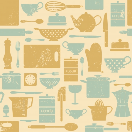 old kitchen: Seamless pattern with kitchen items in vintage style  Illustration