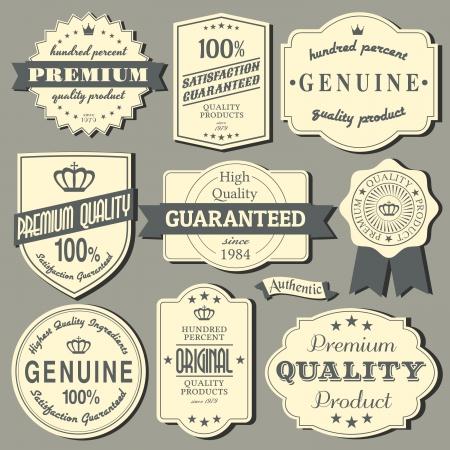 certificate seal: A set of vintage design labels and badges  Illustration
