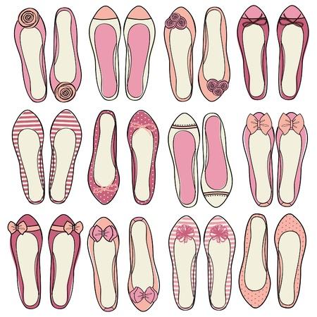 shoe: A set of nine different models of ballerina shoes