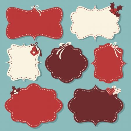 marco cumplea�os: Un conjunto de etiquetas de Navidad de la vendimia en rojo y blanco