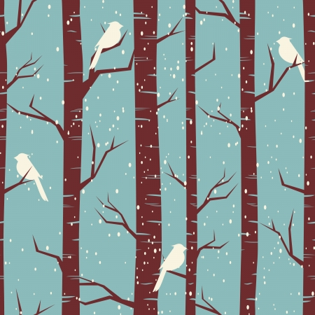 Seamless tiling pattern with birches and birds in winter